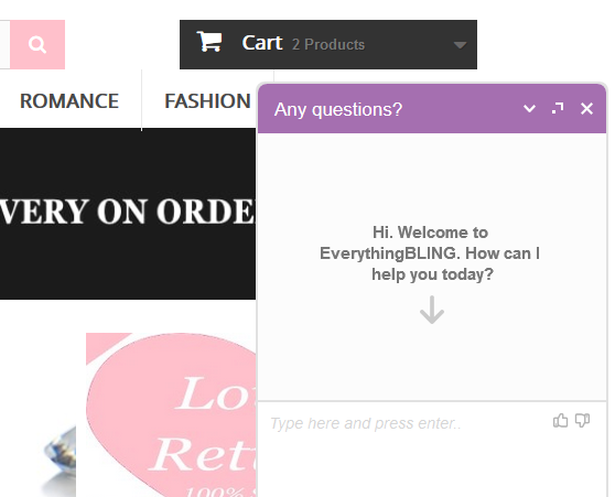 live chat button added to website